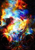Cosmic space and stars with light circle. Cosmic space and stars with light circle Royalty Free Stock Photos