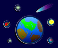 Cosmic stickers of earth, stars and planets Stock Images