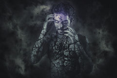 Cosmic stone man concept Stock Photography
