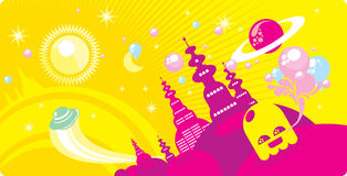 Cosmic town. Positive colorful illustration, cosmic town with allien Royalty Free Stock Image