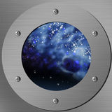 Cosmic view. Porthole with a nightly sky and stars Stock Images