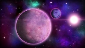 Cosmic view with habitable planet and starry background. Loopable animation