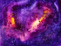 Cosmic watercolor background Stock Photos