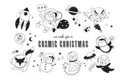 Cosmic Xmas illustrations,  with Santa, Penguin, Deer, Fox and a space ship Stock Image