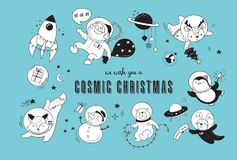 Cosmic Xmas illustrations,  with Santa, Penguin, Deer, Fox and a space ship Stock Photo