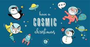 Cosmic Xmas illustrations,  with Santa, Penguin, Deer, Fox and a space ship Royalty Free Stock Photography