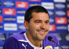 Cosmin Contra of Petrolul Ploiesti Press Conference Royalty Free Stock Photo