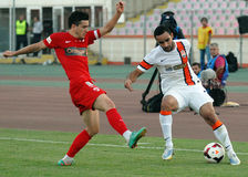 Cosmin Matei and Ismaily in Dinamo Bucharest-Shaktar Donetk Stock Images