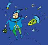 Cosmo boy. Illustration of little boy, with spaceship Royalty Free Stock Photography