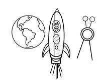 Cosmodrome kids coloring pages Royalty Free Stock Photo