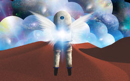 Cosmonaut with angels wings Stock Photos