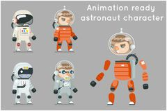 Cosmonaut Astronaut Spaceman Space Sci-fi Icons Set Animation Ready Cartoon RPG Game Flat Design Vector Illustration Royalty Free Stock Photo