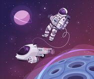 Cosmonaut character in outer space. Cartoon vector illustration. stock illustration