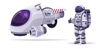 Cosmonaut character and spaceship. Cartoon vector illustration stock illustration