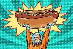 Cosmonaut and hot dog fast food Royalty Free Stock Images