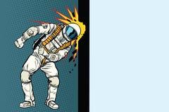 Cosmonaut knocks head on the wall. Dream of mankind Stock Photos