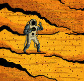 Cosmonaut and the Mars. Cosmonaut walk on the Mars Stock Photo