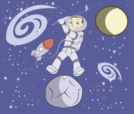 Cosmonaut plays golf stock illustration