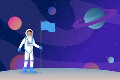 Cosmonaut setting flag flat vector illustration. Smiling astronauts in outer space, spaceman standing on alien planet vector illustration