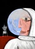 Cosmonaut smokes inside his spacesuit Stock Photos