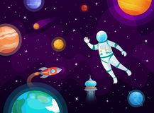 Cosmonaut in space. Astronaut spacecraft rocket in open space, universe planets and planetary cartoon vector background. Cosmonaut in space. Astronaut spacecraft stock illustration