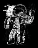 Cosmonaut. The symbolic image of an astronaut who sends his greetings to all Royalty Free Stock Photography