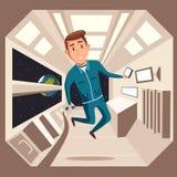 Cosmonaut in zero gravity. Vector cartoon illustration royalty free illustration