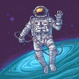 Cosmonauta del ejemplo del vector Fotos de archivo libres de regalías
