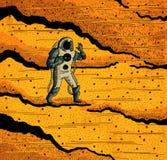 Cosmonauta e o Marte Foto de Stock