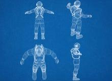 Cosmonaute - architecte Blueprint illustration de vecteur