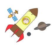 Cosmonaute de bande dessinée en Rocket Vector Illustration Photos libres de droits
