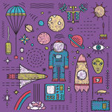 Cosmonaute Design Elements d'étoiles de planètes de l'espace illustration libre de droits