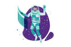 Cosmonaute plat de jeune homme avec la barbe et future interface dans l'espace illustration libre de droits