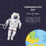 Cosmonautics day poster with spaceman. On earth orbit. World aerospace holiday, astronaut space mission in deep universe vector illustration. Cosmic exploration Royalty Free Stock Photo