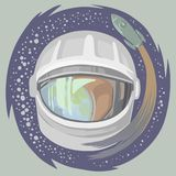 Cosmonautics day poster, square vector illustration. Close-up of the suit and a flying rocket in the background vector illustration