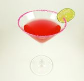 Cosmopolitan. Cosmo cocktail with lime and pink sugar on isolated background Stock Images