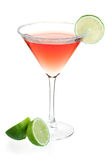 Cosmopolitan alcohol cocktail. Cocktail collection - Cosmopolitan alcohol cocktail with lime halves. Isolated on white background Stock Images