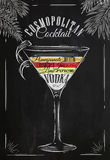 Cosmopolitan cocktail chalk Royalty Free Stock Photography