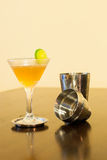 Cosmopolitan cocktail with Cocktail shaker and lime Stock Image