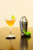 Cosmopolitan cocktail with Cocktail shaker and lime Stock Images