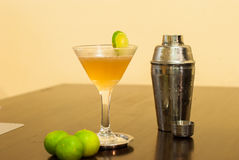 Cosmopolitan cocktail with Cocktail shaker and lime Royalty Free Stock Photography