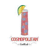 Cosmopolitan cocktail for a customer illustration for bar business Royalty Free Stock Photos