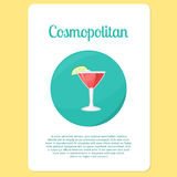 Cosmopolitan cocktail drink in circle icon Royalty Free Stock Photo