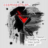 Cosmopolitan cocktail in grunge style. Stock Photos