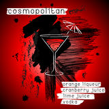 Cosmopolitan cocktail in grunge style. Stock Image