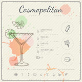 Cosmopolitan. Cocktail infographic set. Vector illustration. Colorful watercolor background Stock Images