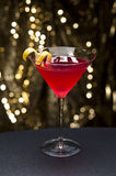 Cosmopolitan cocktail with lemon garnish Royalty Free Stock Image