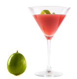 Cosmopolitan Cocktail with Lime. Cosmopolitan Cocktail isolated on white. Short drink to serve at any time. Ingredients: 5-6 ice cubes, 1 measure vodka, 1/2 stock photo
