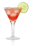 Cosmopolitan Cocktail. Red Cosmopolitan Cocktail  with a slice of a lime, isolated on a white background Royalty Free Stock Photo