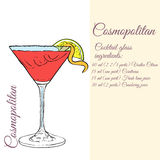Cosmopolitan. Cocktails card. Royalty Free Stock Photo